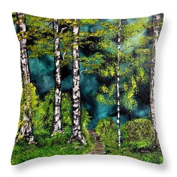 Green Forest Throw Pillow by Valerie Ornstein