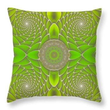 Green Fractal Jewel Throw Pillow