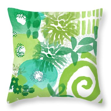 Green Garden- Abstract Watercolor Painting Throw Pillow by Linda Woods