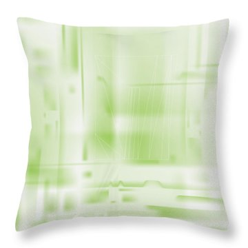 Green Ghost City Throw Pillow