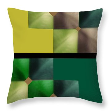 Green Glow Check Throw Pillow by Ann Calvo