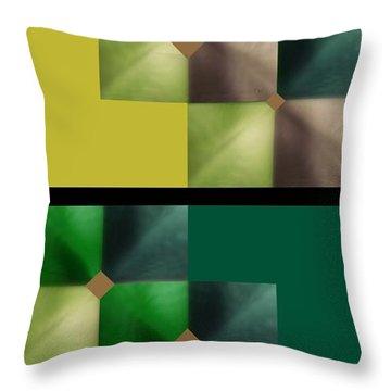 Throw Pillow featuring the digital art Green Glow Check by Ann Calvo