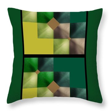Green Glow Check Throw Pillow