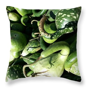 Green Goosenecks Throw Pillow
