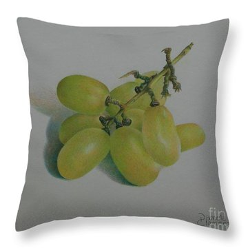 Throw Pillow featuring the painting Green Grapes by Pamela Clements