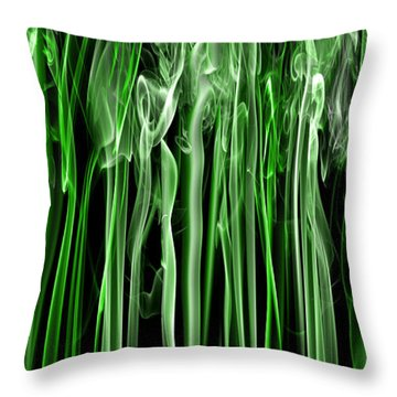 Green Grass Smoke Photography Throw Pillow