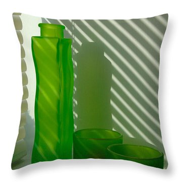 Green Green Glass Throw Pillow