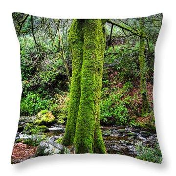 Green Green Moss Throw Pillow