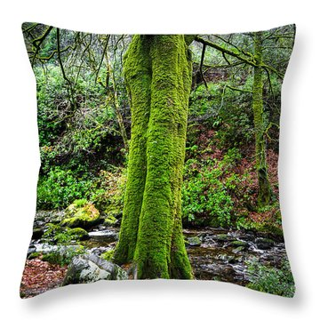 Green Green Moss Throw Pillow