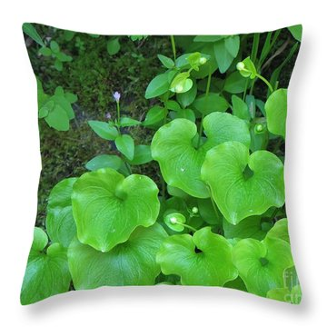 Throw Pillow featuring the photograph Green Growing Hearts by Michele Penner