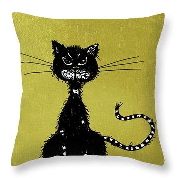Green Grunge Evil Black Cat Throw Pillow