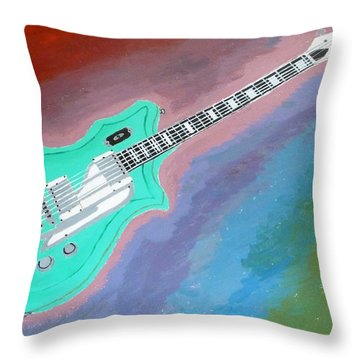 Green Guitar Throw Pillow