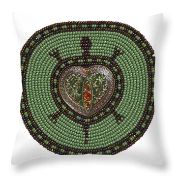 Green Heart Turtle Throw Pillow