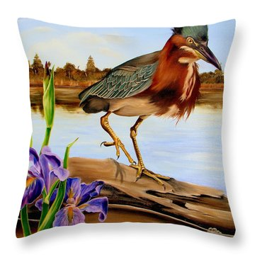Throw Pillow featuring the painting Green Heron Dance by Phyllis Beiser
