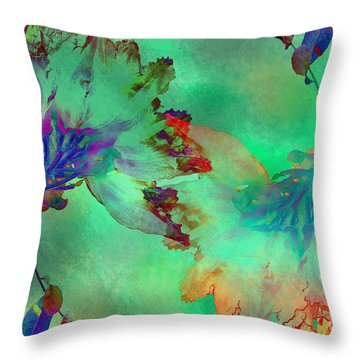 Green Hibiscus Mural Wall Throw Pillow by Claudia Ellis