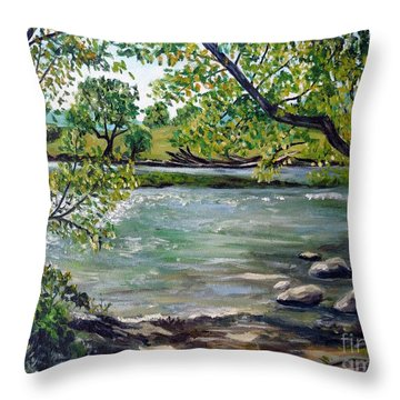 Green Hill Park On The Roanoke River Throw Pillow