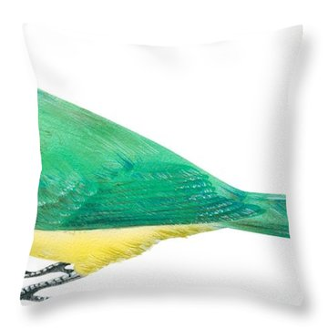 Green Jay Throw Pillow by Anonymous