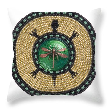 Green Jewel Dragonfly Turtle Throw Pillow