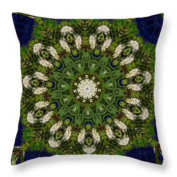 Green Leaf White Flower Mandala Throw Pillow