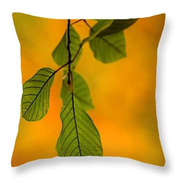 Green Leaves In Autumn Throw Pillow