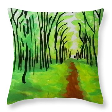 Green Leaves Throw Pillow by Marisela Mungia
