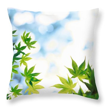 Green Leaves On Mottled Cloudy Sky Throw Pillow