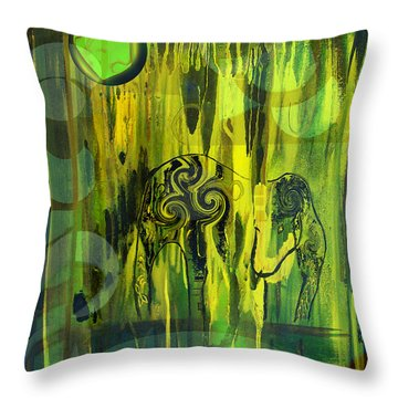 Green Light Throw Pillow by Yul Olaivar
