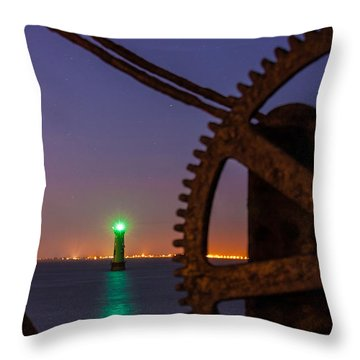 Green Lighthouse Throw Pillow by Semmick Photo
