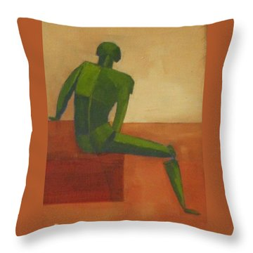 Green Male Figure Throw Pillow by Patricia Cleasby
