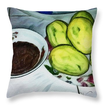 Green Mangoes Throw Pillow