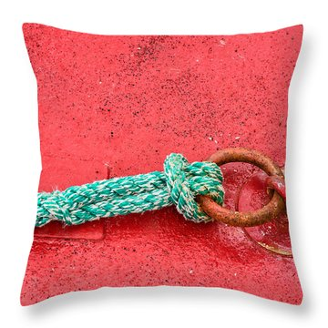 Green Marine Rope On Red Ship Throw Pillow by Matthias Hauser