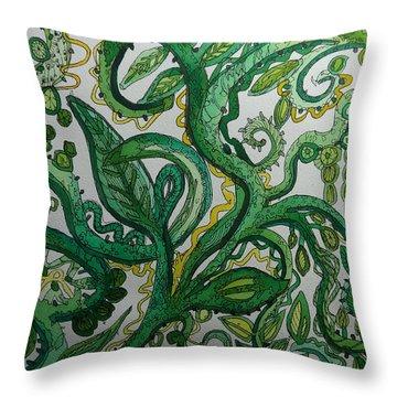 Green Meditation Throw Pillow by Terry Holliday