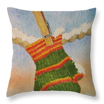 Green Mittens Throw Pillow by Mary Ellen Mueller Legault