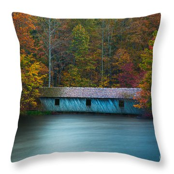 Green Mountain Covered Bridge Huntsville Alabama Throw Pillow