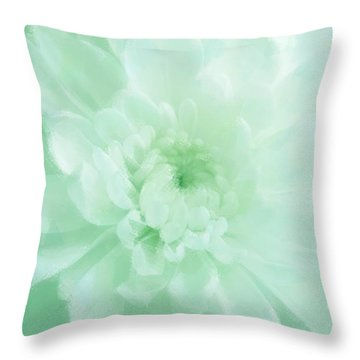Green Mum Luminous Painted Blossom Throw Pillow