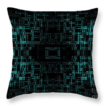 Throw Pillow featuring the digital art Green Network by Anita Lewis