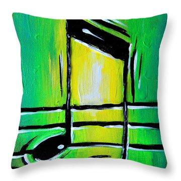 Green Notes Throw Pillow