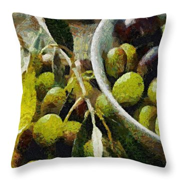 Green Olives Throw Pillow by Dragica  Micki Fortuna