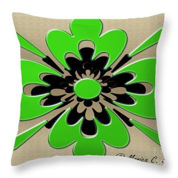 Green On Gold Floral Design Throw Pillow