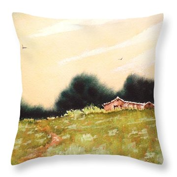 Throw Pillow featuring the painting Green On Green by Suzanne McKay