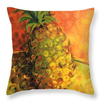 Green Orange Pineapple Throw Pillow