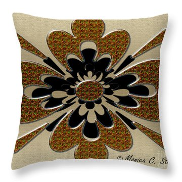 Green Orange Red On Gold Floral Design Throw Pillow
