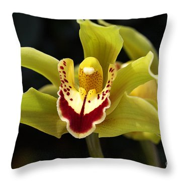 Green Orchid Flower Throw Pillow
