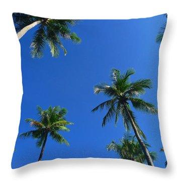 Green Palms Blue Sky Throw Pillow