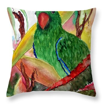 Green Parrot Throw Pillow by Lil Taylor