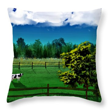 Green Pastures Throw Pillow by Thomas OGrady