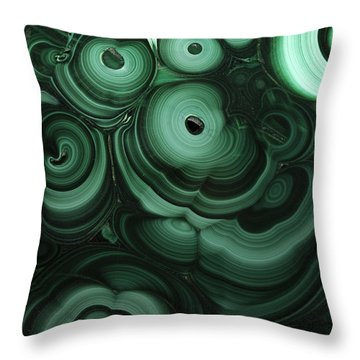 Green Patterns Of Malachite Throw Pillow