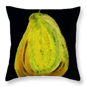 Green Pear - Contemporary Fruit Art Food Print Throw Pillow by Sharon Cummings
