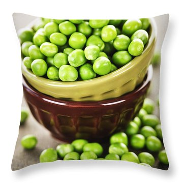 Green Peas Throw Pillow by Elena Elisseeva