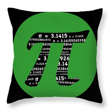 Green Pi Throw Pillow
